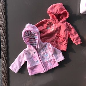 Other - two hooded zip up baby sweatshirt 0-3 mths